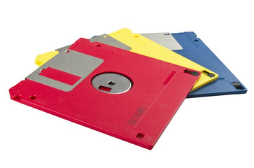 Floppy disk 3,5 close up on white background