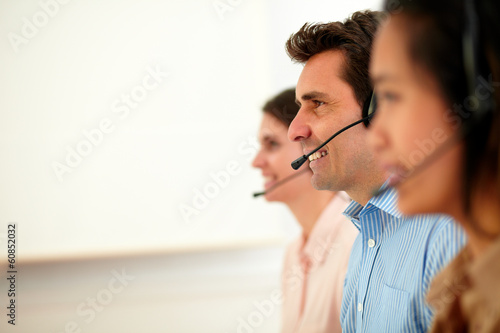 Beautiful and handsome operators giving service