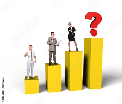 businesspeople standing on chart