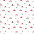 Pattern with watercolor rose illustration
