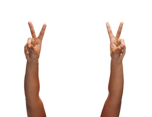 woman hands showing v-sign