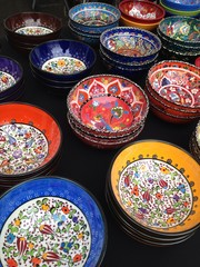colorful pottery for sale at the market