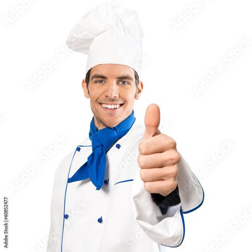 Leinwanddruck Bild Koch macht Topdaumen