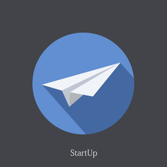 Vector flat startup icon on dark background