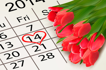 Valentine's Day Calendar. February 14 of Saint Valentines day. V