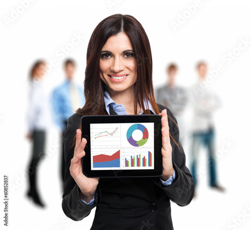 Businesswoman holding a digital tablet