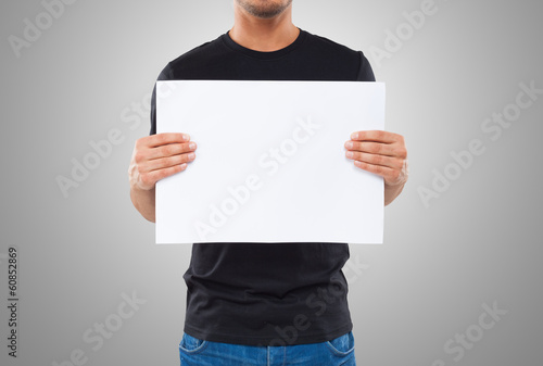 Man showing a blank sign