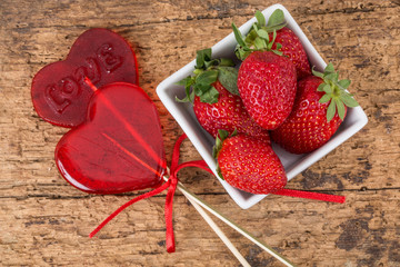 heart shaped candies and strawberries for valentine