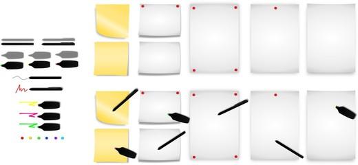 Zettel und Haftnotizen mit diversen Stiften