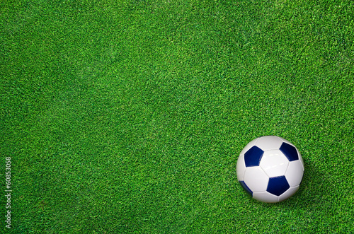 Football lying on perfect Lawn - Soccer Background