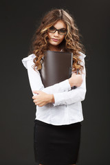Young cute girl with black folder