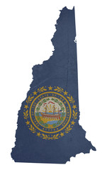 Grunge state of New Hampshire flag map