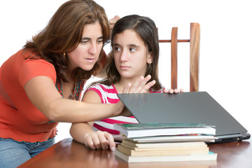 Mother checks her daughter internet activity