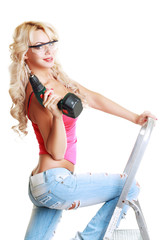 blond woman with drill