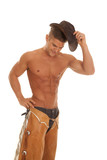 man no shirt chaps hat by head hand on hip poster