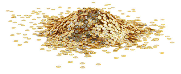 Big pile of golden Bitcoins