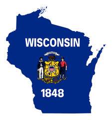 State of Wisconsin flag map