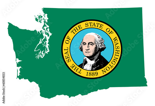 State of Washington flag map