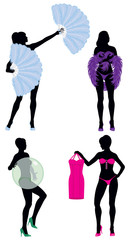 Burlesque Women Silhouettes Dancers and Stripper