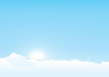 Vecteur de fond de ciel nuageux avec soleil et poutres
