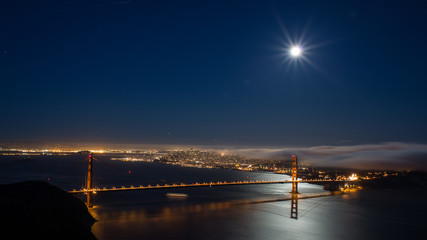 View of Golden Gate Bridge and San Francisco at night