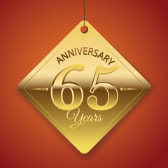 65th Anniversary poster / template/ tag design Vector Background