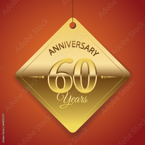 60th Anniversary poster / template/ tag design Vector Background