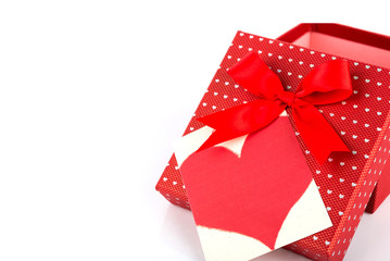 Red valentine gift box and tag