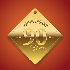 90th Anniversary poster / template/ tag design Vector Background