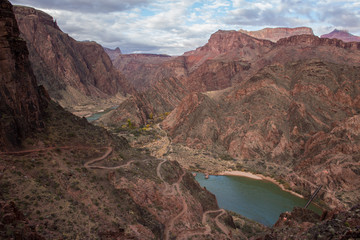View of Colorado river and trail at the Grand Canyon