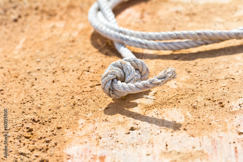 White rope on the ground