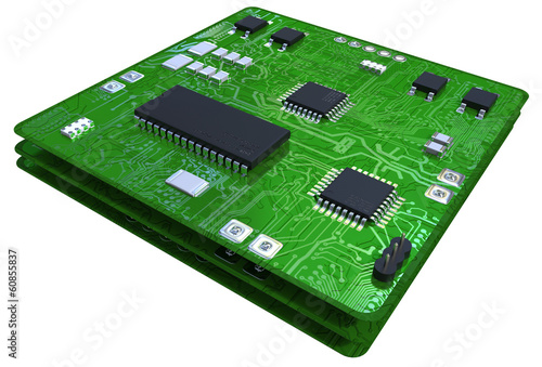Printed circuit boards populated with some components - 60855837