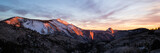 Panorama sunset on Half Dome in Yosemite National Park