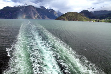 View from a cruise ship, Geirangerfjord, Norway.