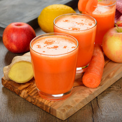 Fresh apple and carrot juice