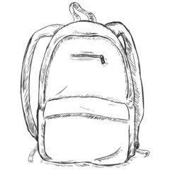vector sketch illustration - hipster backpack