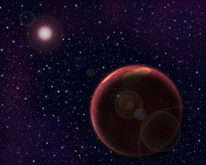 Red planet and sun with lens flare