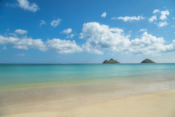 Tropical blue water beach in Lanikai Hawaii