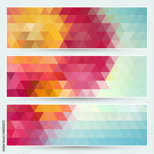 Abstract colorful mosaic banners set