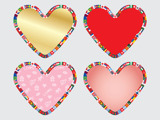 set of valentines with border made of flags icons