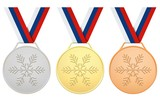 Medals with white, blue, red ribbon for Winter games