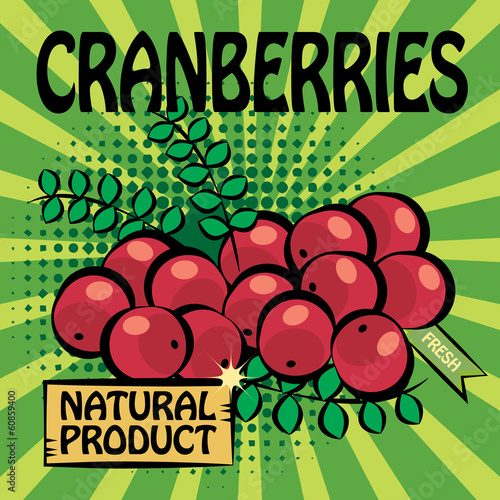 Fruit label, Cranberries, vector illustration