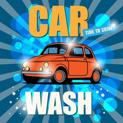 Retro car wash sign, vector illustration