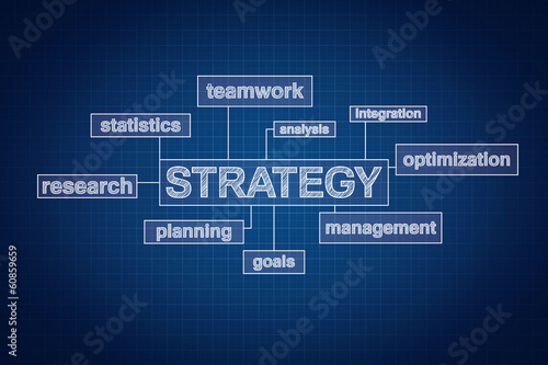 Strategy planning concept word cloud on blueprint, technical dra