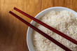 Raw rice in bowl.