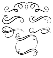Calligraphic decorative elements.
