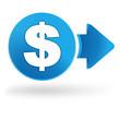 dollar sur symbole web bleu