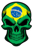 brazil flag painted on skull