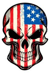 american flag painted on skull
