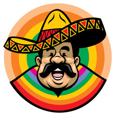 cartoon of smiling mexican male with sombrero